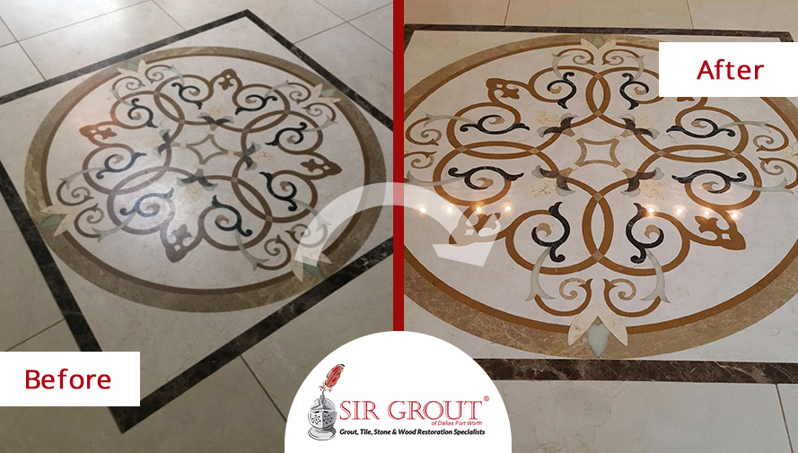 Before and After Picture of a Stone Polishing in Dallas, Texas