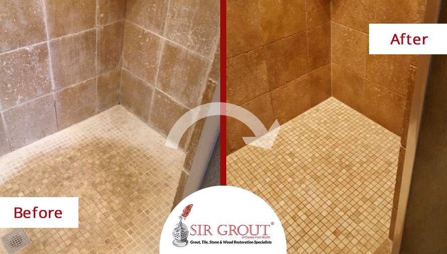 Goodbye Soap Scum See How This Shower In Dallas TX Underwent An - Bathroom tile cleaning service