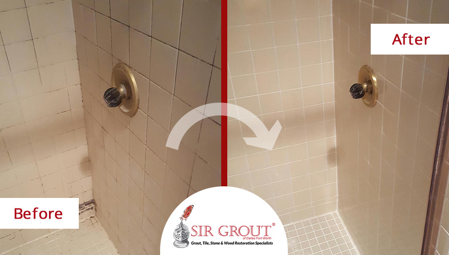 Before and After Picture of a Grout Cleaning Service in Fort Worth, Texas