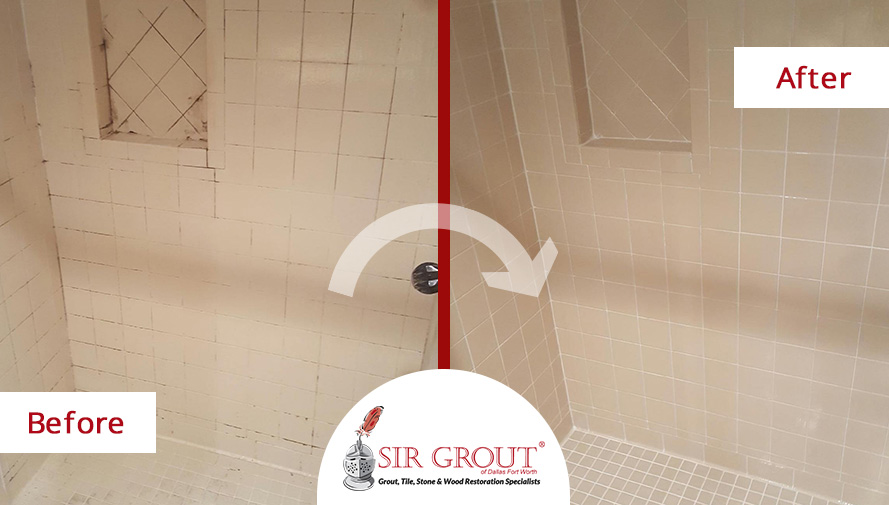 Before and After Picture of a Grout Cleaning Job in Fort Worth, Texas