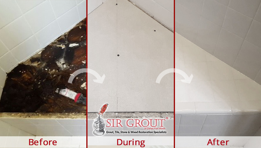 Before, During and After Picture of a Hard Surface Restoration Service in Dallas
