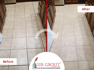 Before and After Picture of Tile Cleaning Service in Dallas, TX