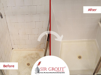 Before and After Picture of a Tile and Grout Cleaning Service in Rockwall, Texas
