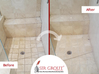 Before and After Picture of a Grout Cleaning Service in Dallas, TX