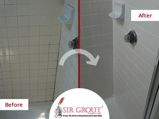 Before and After Picture of a Shower in Dallas, TX with Dirty Tile and Grout