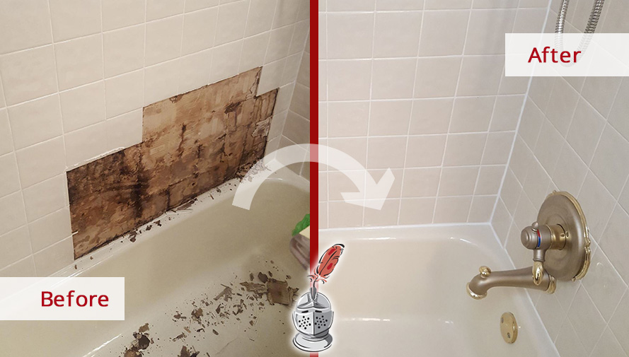 Before And After Picture Of A Bathroomu0027s Moldy Tile In Dallas, Texas