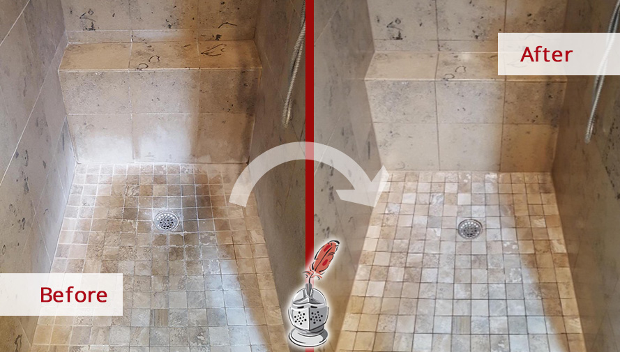 Before and After of This Job in a Natural Stone Shower in Dallas, Texas