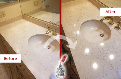 Before and After Picture of a Dull Marble Vanity Top Honed and Polished