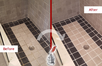 Before and After Picture of Travertine Shower  Honed and Polished to Remove Stains