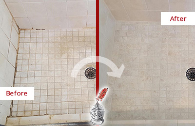 Before and After Picture of a Farmers Branch Shower Caulked to Fix Cracks