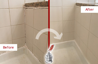 Before and After Picture of a Arlington Shower Caulked to Repair Damaged Caulking