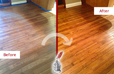 Before and After Picture of a Celina Wood Sandless Refinishing Service on a Dull Floor to Recover Its Sheen