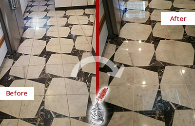 Before and After Picture of a Dull Farmers Branch Marble Stone Floor Polished To Recover Its Luster