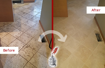 Before and After Picture of a Argyle Kitchen Marble Floor Cleaned to Remove Embedded Dirt