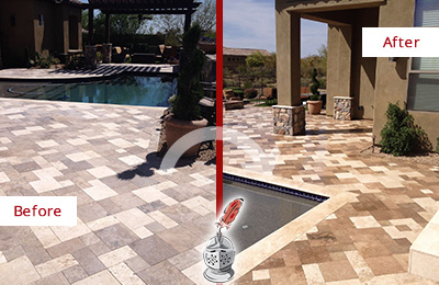 Before and After Picture of a Dull Argyle Travertine Pool Deck Cleaned to Recover Its Original Colors