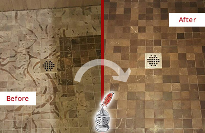 Before and After Picture of a Stained Argyle Marble Shower Floor Cleaned to Remove Etching