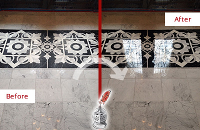 Before and After Picture of a Dalworthington Gardens Marble Stone Sealed to Recover Its Sheen