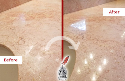 Before and After Picture of a Fairview Marble Stone Vanity Top Sealed to Avoid Water Marks