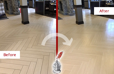 Before and After Picture of a Rowlett Hard Surface Restoration Service on an Office Lobby Tile Floor to Remove Embedded Dirt