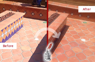 Before and After Picture of a Frisco Hard Surface Restoration Service on a Dull Terracotta Patio Floor to Recover Its Color