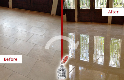 Before and After Picture of a Rowlett Hard Surface Restoration Service on a Dull Travertine Floor Polished to Recover Its Splendor