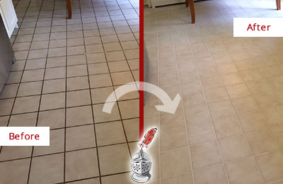 Before and After Picture of a Dalworthington Gardens Kitchen Tile Floor with Recolored Grout