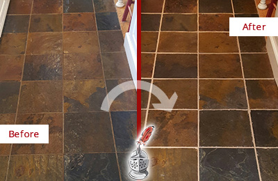 Before and After Picture of a Dalworthington Gardens Slate Floor Recolored Grout
