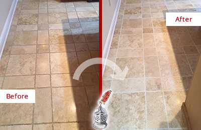 Before and After Picture of a Dalworthington Gardens Travertine Kitchen Floor Recolored Grout