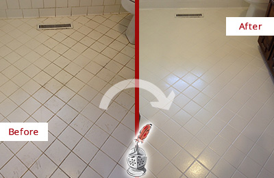 Before and After Picture of a Crowley White Bathroom Floor Grout Sealed for Extra Protection