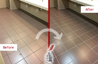 Before and After Picture of Dirty Crowley Office Restroom with Sealed Grout