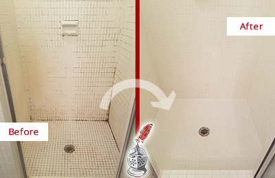 Before and After Picture of a Crowley Bathroom Grout Sealed to Remove Mold