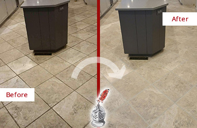 Before and After Picture of a Crowley Kitchen Floor Grout Sealed to Remove Stains