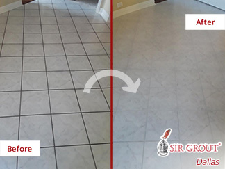 Before and After Image of a Floor After a Grout Cleaning in McKinney, TX