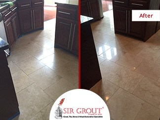 Before and After Picture of a Stone Polishing Service in Dallas