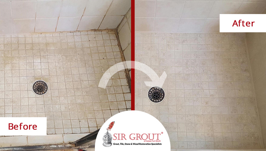 Before and After Picture of a Grout Cleaning in Frisco, Texas