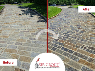 Before and After Picture of a Stone Sealing Service in Plano, TX