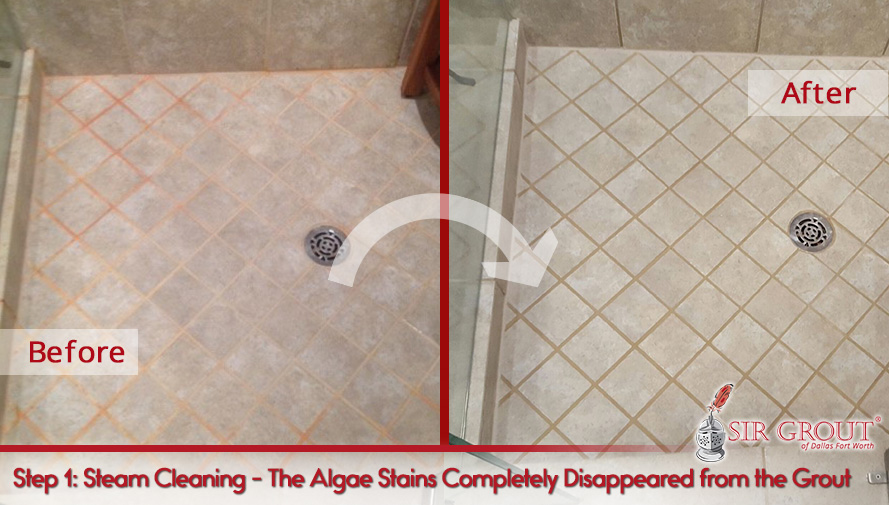 Before and After Picture of a Grout Cleaning in Dallas, TX