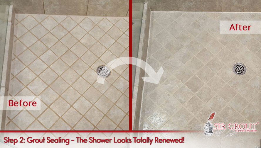 Before and After Picture of a Grout Cleaning and Sealing in Dallas, TX