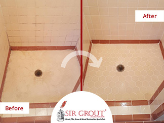 Before and After Picture of Our Tile and Grout Cleaners in Dallas