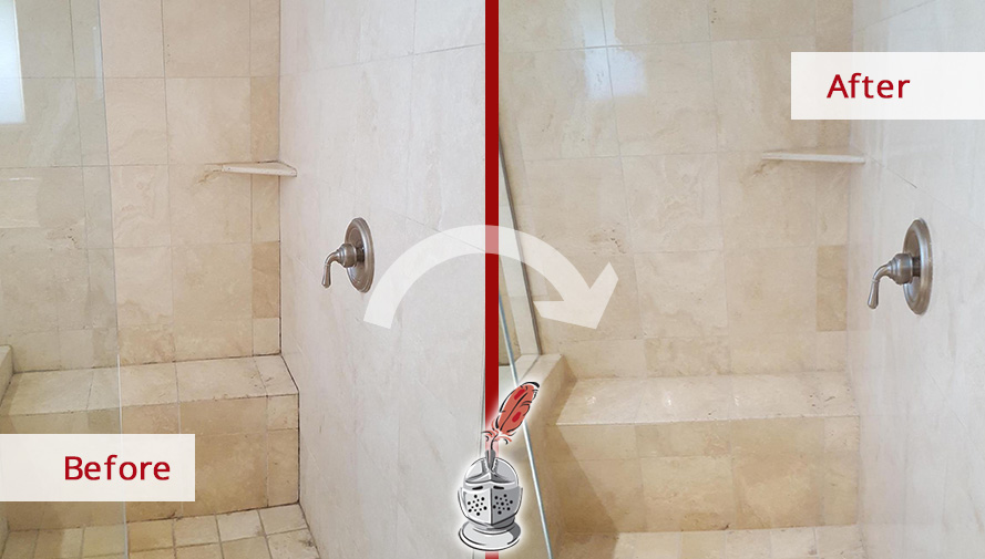 Before and After Picture of a Shower Grout Cleaning in Dallas, TX