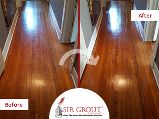 Before and After Picture of a Sandless Wood Refinishing in Dallas