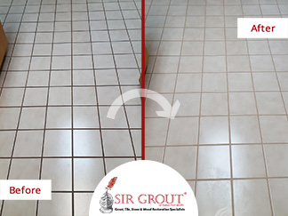 Before and After Picture of a Grout Cleaning Ceramic Floor in Dallas, Texas