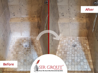Before and After of This Natural Stone Shower in Dallas, Texas