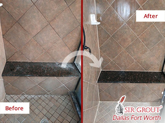 Before and after Picture of How This Shower restored Its Appealing Look Thanks to a Grout Cleaning Job in Dallas, TX