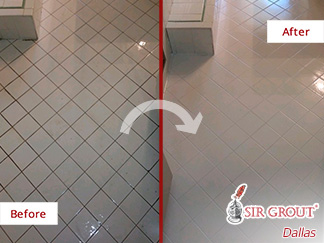 Before and After Picture of a Bathroom Tile and Grout Cleaning Job in Dallas, Tx