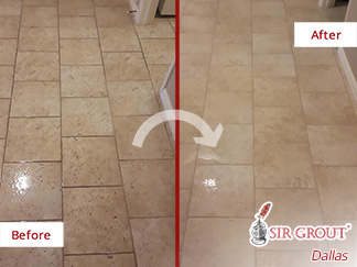 Before and After Picture of a Floor Stone Cleaning Service in Dallas, Tx