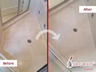 Before and after Picture of This Shower Now Stain Free after a Tile Cleaning Job in Dallas