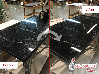 Before and after Picture of This Marble Table after a Stone Honing Job in Dallas