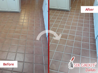 Before and after Picture of This Kitchen Floor Restored Thanks to a Grout Sealing in Dallas, TX