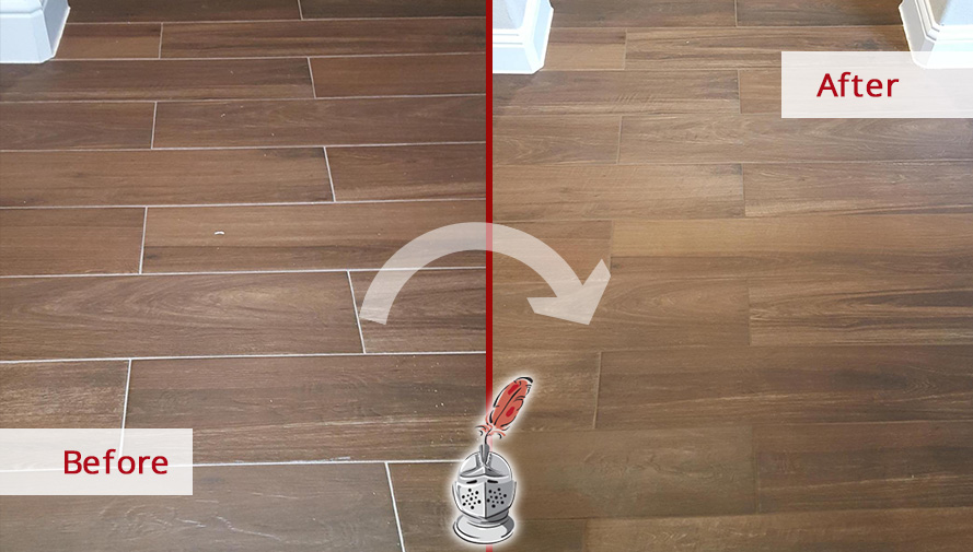 Before and after Picture of This Floor after a Grout Sealing Service in Dallas, Texas